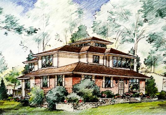 Vienna, VA Prairie Style House Sketch