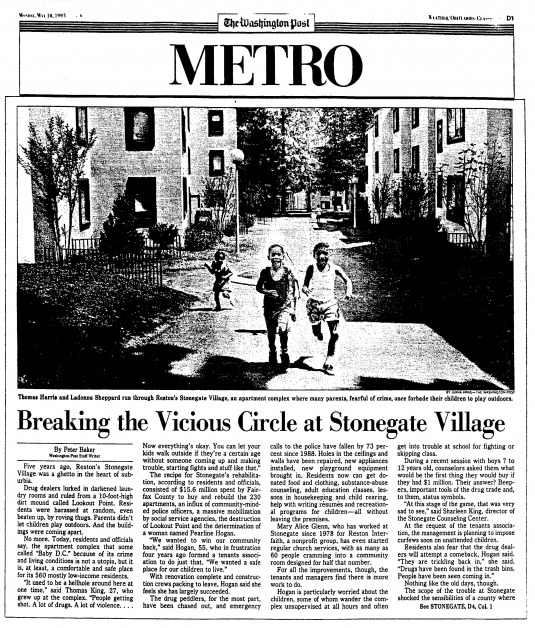 Stonegate Village Washington Post Article